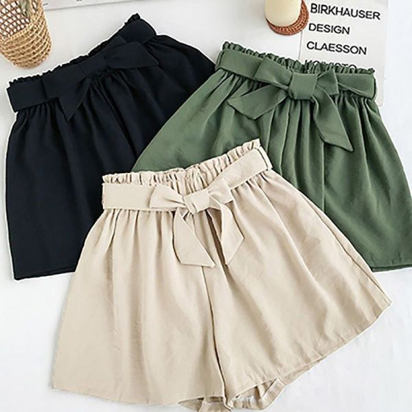 Women's Shorts Summer Bow Tie Solid Color Wide Leg Shorts Drawstring High Waist Plus Size Casual Ela (1)