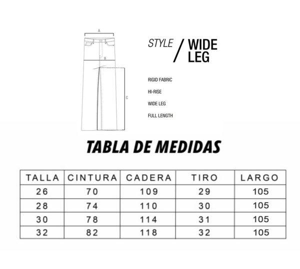 tabla de medidas WLC