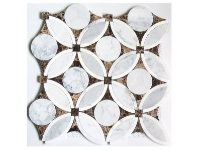 DS285-3 (Waterjet Flower Mosaic in statuario, Carrara C and emperador marble)