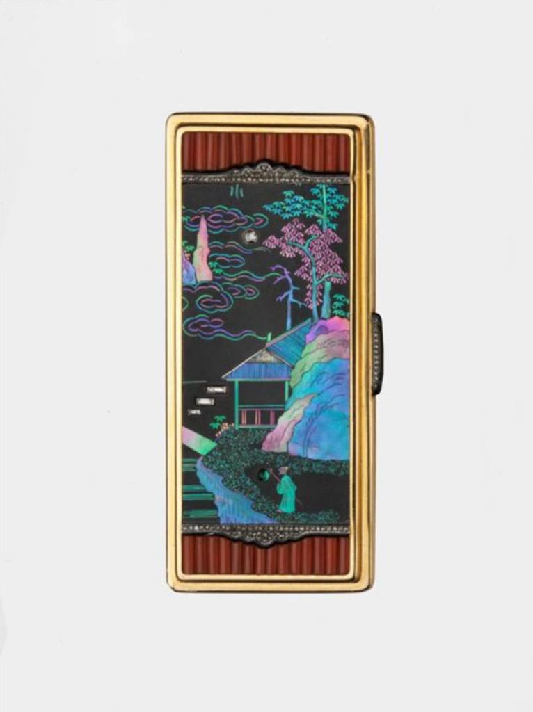 Gold Vanity case with LAQUE BURGAUTE PANELS, Cartier, Paris, CA 1925