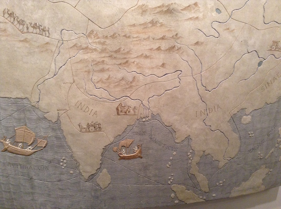 India on ancient Roman map in National Museum of Rome