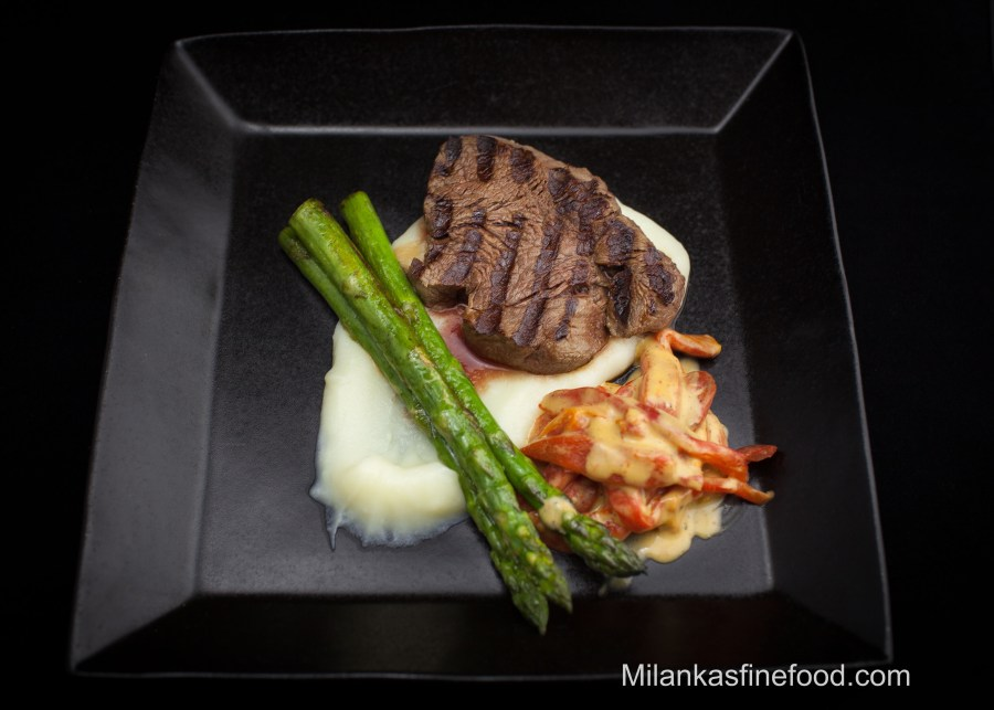 Grilled Steak with Mashed Potato, Asparagus & Peppers in Mustard Sauce
