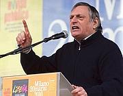 Don Luigi Ciotti, fondatore di Libera, durante il suo  intervento dal palco (Ansa)