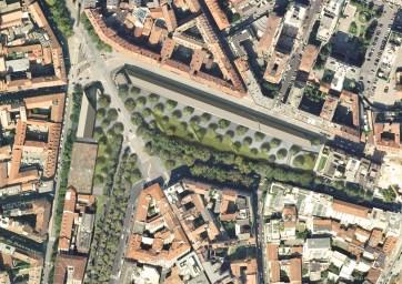 Andamento e vista dall'alto del progetto originale per l'edificio della Feltrinelli lungo Porta Volta