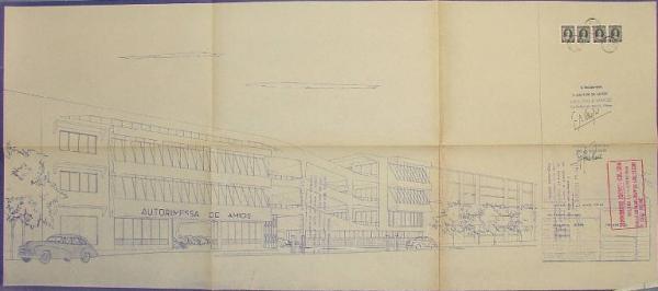 Disegni originali del progetto per il Super Garage di Via De Amicis