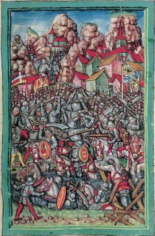 Le truppe milanesi respinte dai Confederati; una scena della battaglia del 28 dicembre1478 immaginata dall'illustratore della Luzerner Chronik (1513) di Diebold Schilling (Zentral- und Hochschulbibliothek Luzern, Sondersammlung, Eigentum Korporation Luzern).