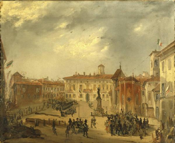 Pittura con uno scorcio della Piazza borromeo ai tempi delle V Giornate di Milano, autore Felice Donghi,
