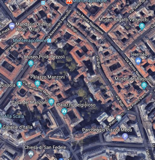 Il vecchio quartiere Nosiggia: alle spalle di Via Manzoni e con fulcro sull'area del Palazzo e la piazza Belgioioso