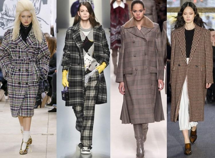 модные пальто в клетку - тренд осень 2018 2019