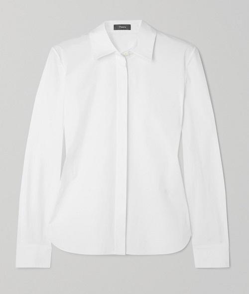 белая рубашка с длиным руковом базовая 2020