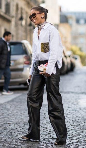 образы черные брюки белая рубашка