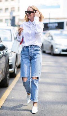 как носить белая рубашка с джинсами