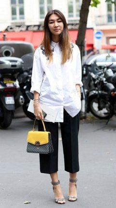 длинная белая рубашка с кюлотами