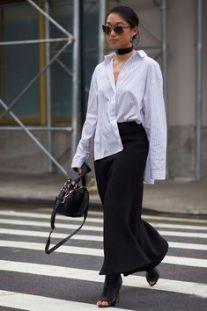 модная длинная белая рубашка стильные образы