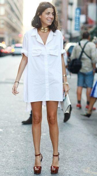 модная длинная белая рубашка с длинным рукавом 2020 - стильные образы с белой рубашкой