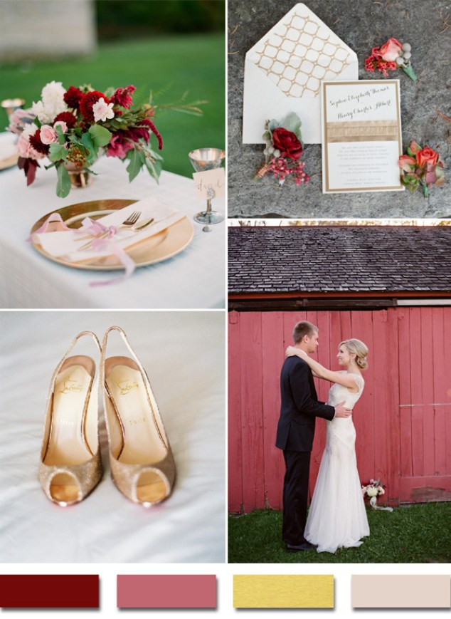 2015-trends-burgundy-and-gold-metallic-wedding-color-ideas
