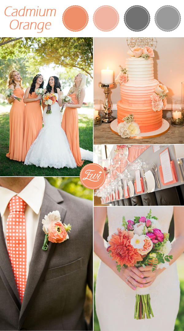 cadmium orange wedding color ideas fall 2015 pantone