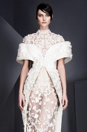 свадебное платье с прозрачной юбкой вышивка эфект тату юбкой Ashi Studio 2017