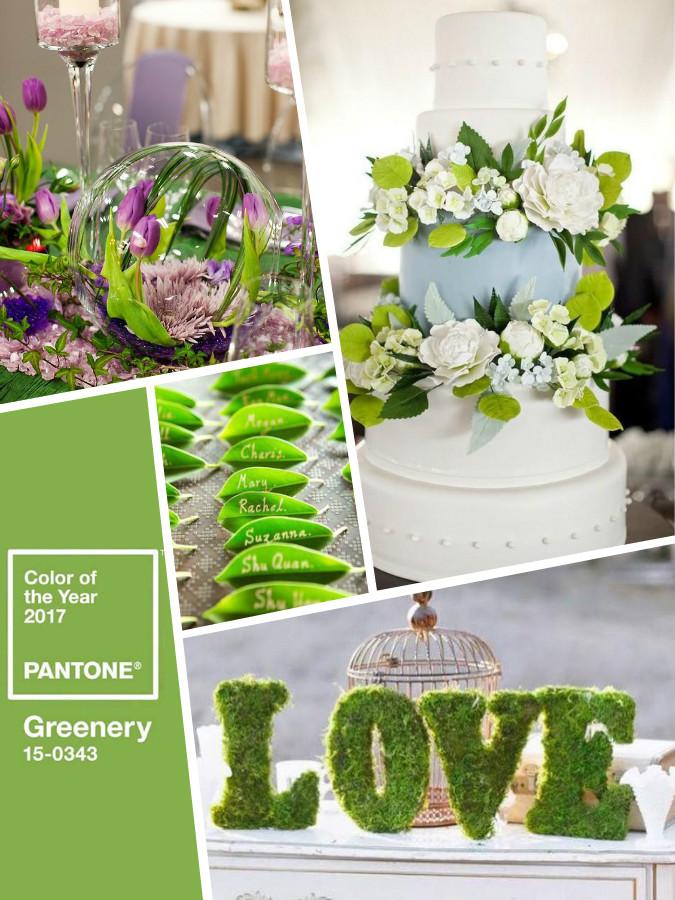 Greenary color wedding Pantone 2017 - цвет года 2017 - зеленый цвет свадьбы