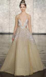 блестящее золотое свадбеное платье Inbal Dror