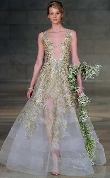 свадебное платье с золотым кружевом Reem Acra