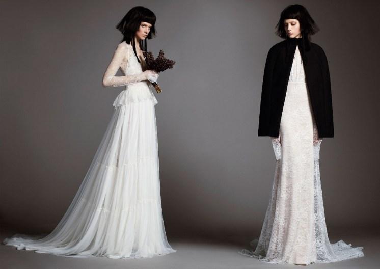 оригинальное кружевное свадебное платье с баской Vera Wang Spring 2018