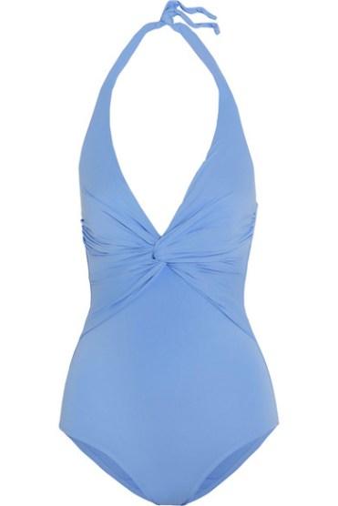 модный голубой закрытый купальник