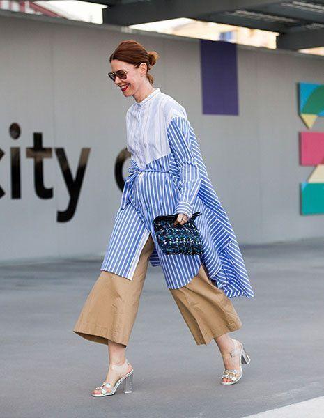 как модно носить кюлоты с рубашкой