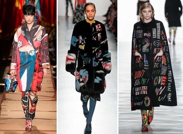 модные пальто 2017 с рисунком и принтом