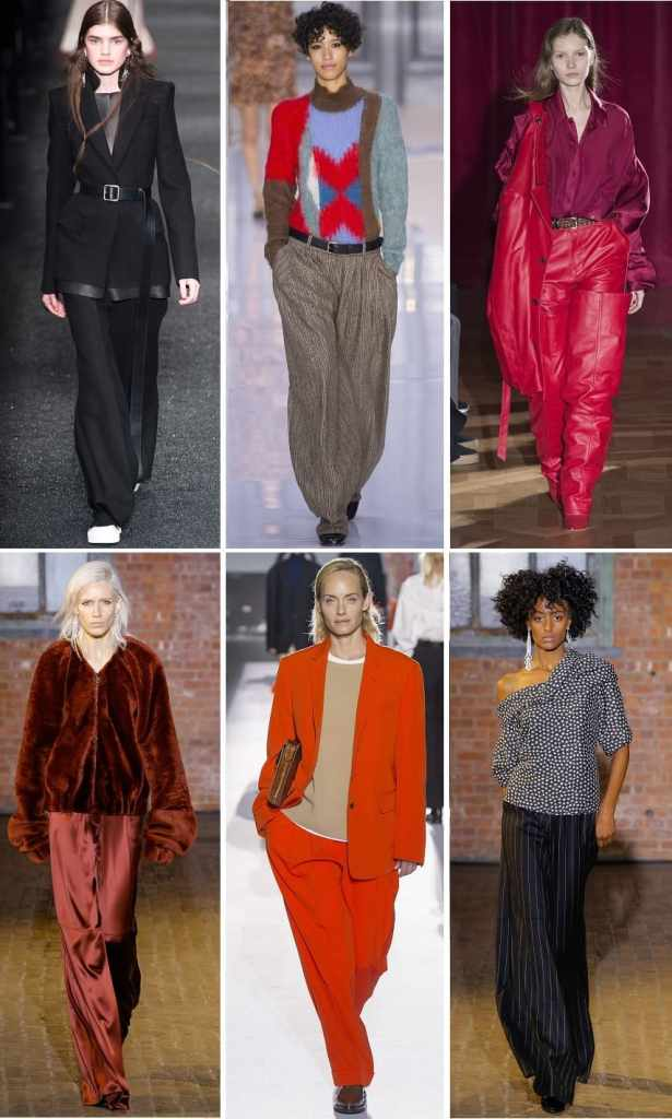 тренд осень 2017 широкие брюки палаццо