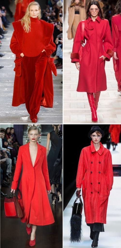 красные пальто осень 2017