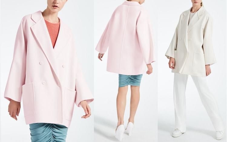 короткое пальто Макс мара зима осень 2017 2018 пастельного цвта