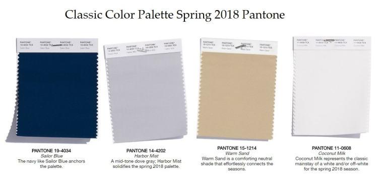 Classic Color Palette pantone Spring 2018