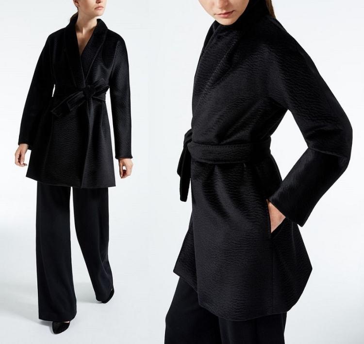 Пальто Макс Мара из чистой альпаки черное на запахе