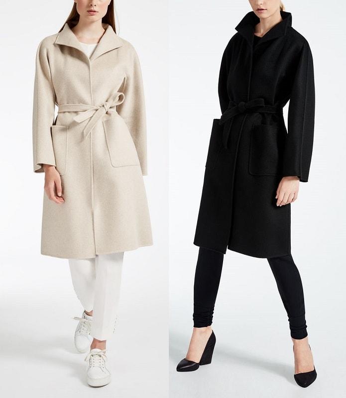 839a3bfc7ec Пальто с запахом из чистого двухстороннего кашемира без подкладки