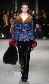 модная итальянская шуба под леопарда синяя Симонета Равица Милан