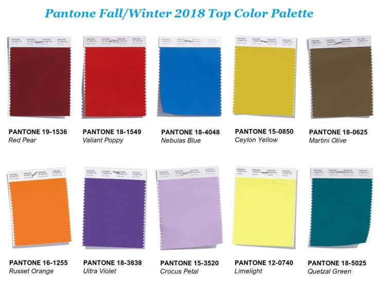Pantone Fall winter 2018 2019 top 10 color palette