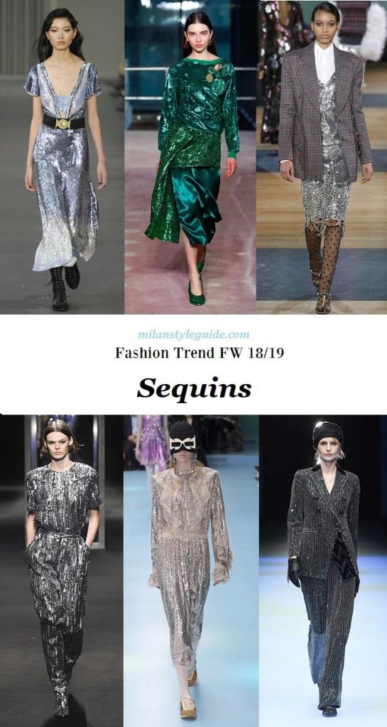 модный тренд осень зима 2018 2019 блестки и паетки