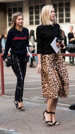 леопардовая юбка стрит-стайл