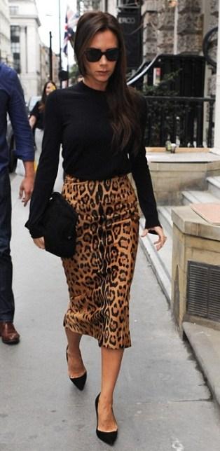 леопардовая юбка карандаш Виктория Бекхам