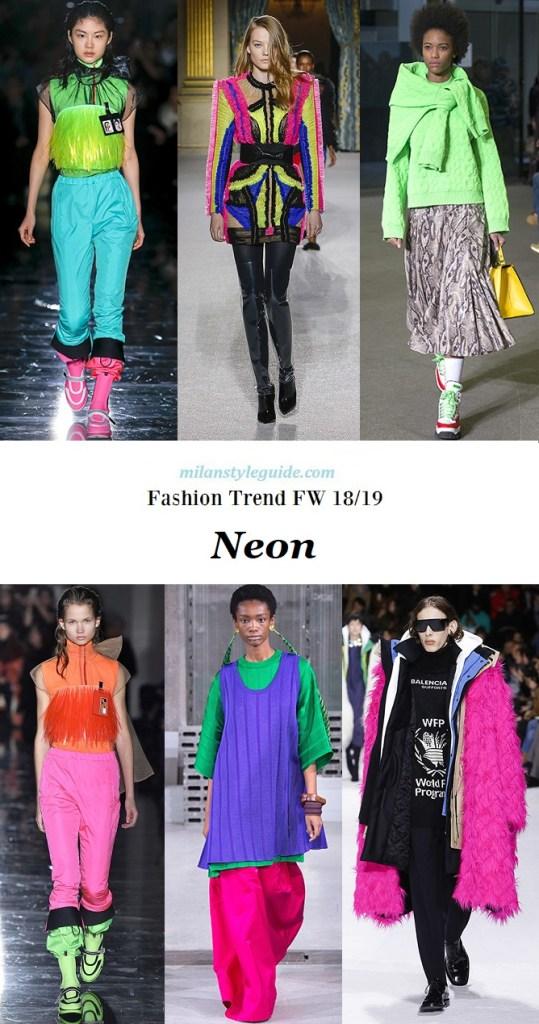 тенденции мода осень зима 2018 2019 вмодные неоновые цвета