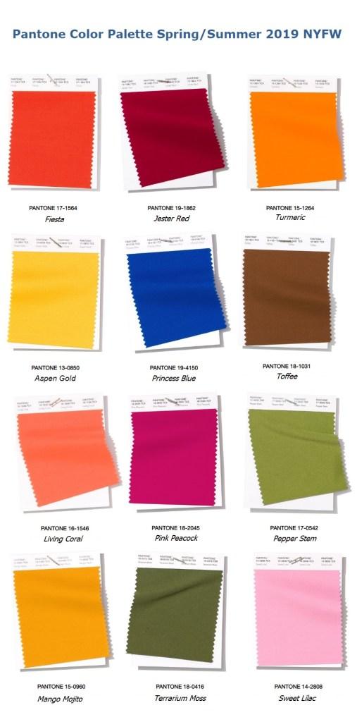 модные цвета Пантон лето весна 2019 Pantone Fashion Color palette New York Spring Summer 2019