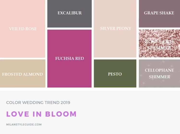 Самые модные свадебные палитры цветов 2019 Пантон love in bloom