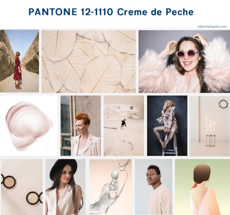 нейтральный цвет осень PANTONE 12-1110 Crème de Pêche модный цвет осень зима 2019/2010