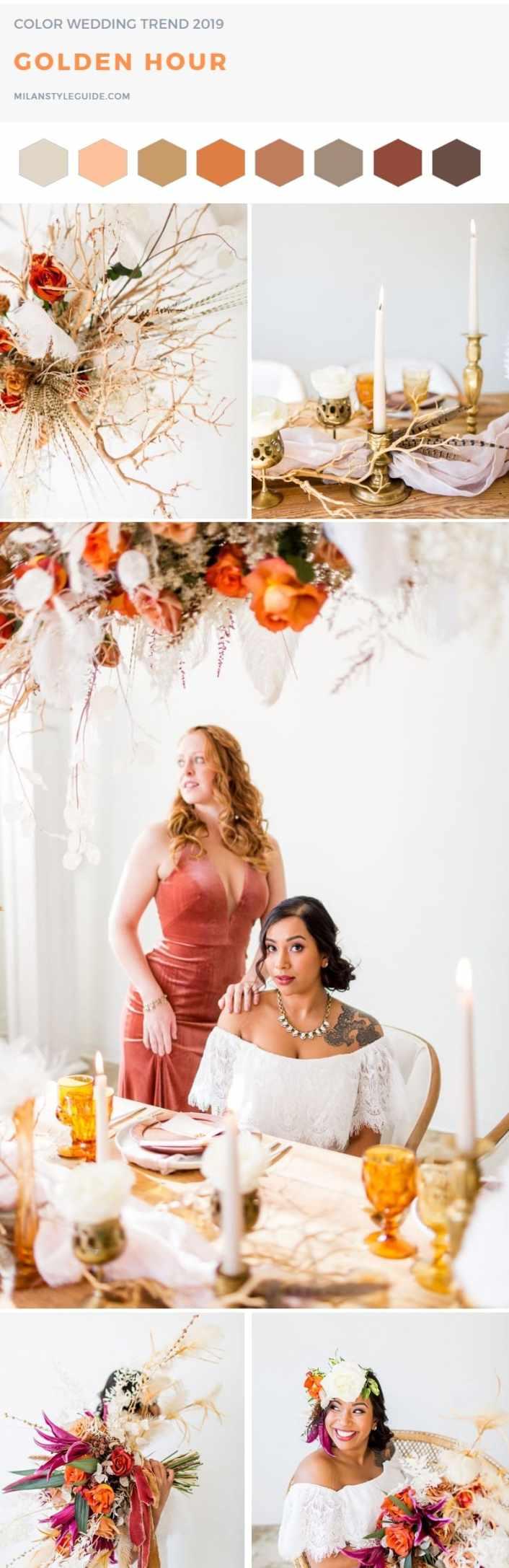 Свадебная модная палитра Пантон 2019 golden hour