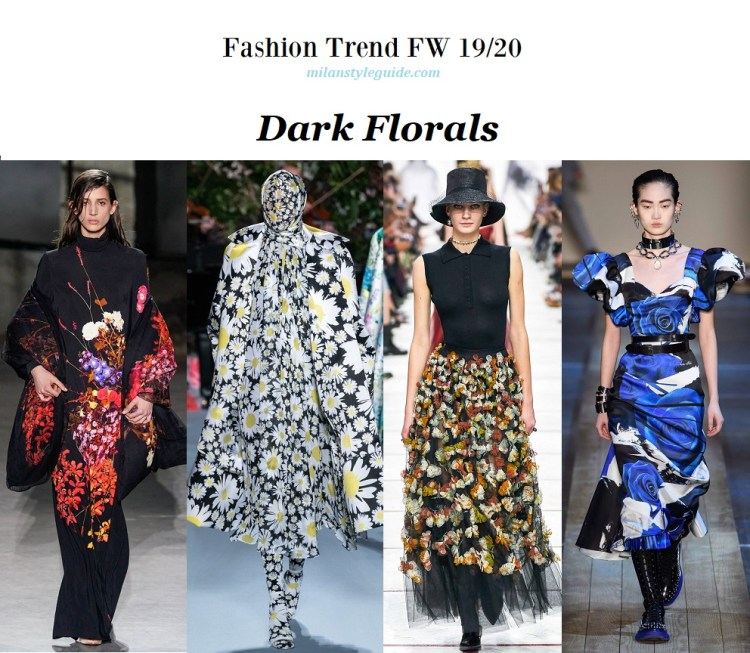 Fashion trend fall winter 2019-2020 Dark Florals