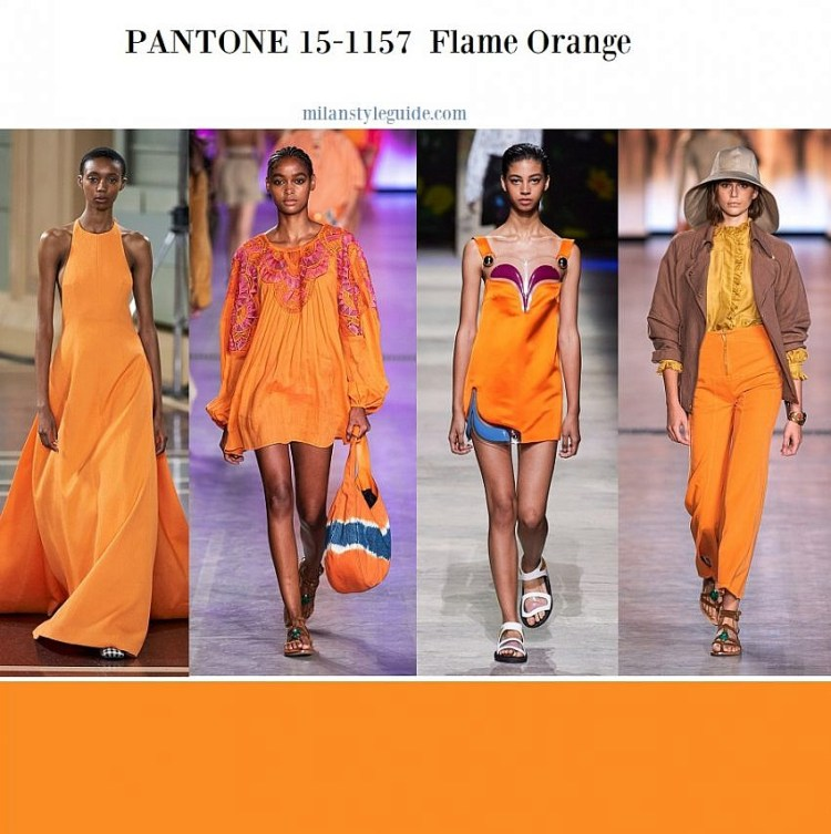 модные цвета весна лето 2020 fashion color trend SS 2020 PANTONE 15-1157 Flame Orange