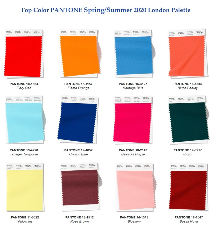 Pantone Fashion color Spring Summer 2020 London