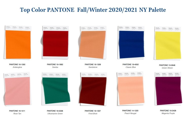 Top color trend fall winter 2020 Pantone Palette