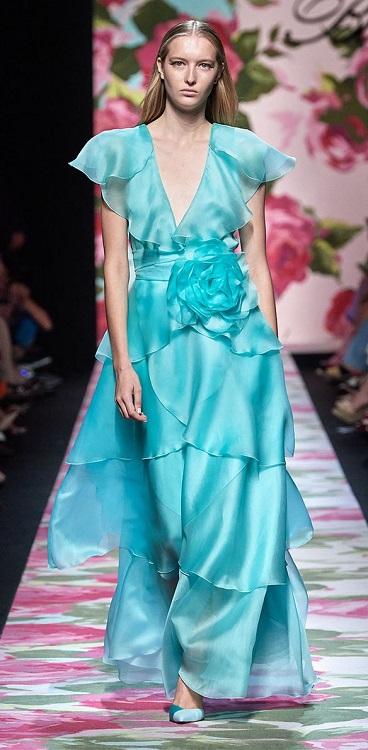 модные платья лето осень 2020 бирюзового цвета